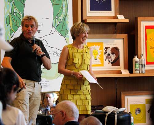 Franke James and Raymond Perkins at book reading for Bothered by My Green Conscience; photo by Central Image Agency