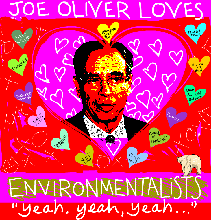 Joe Oliver loves environmentalists illustration and photo by Franke James, copyright 2012