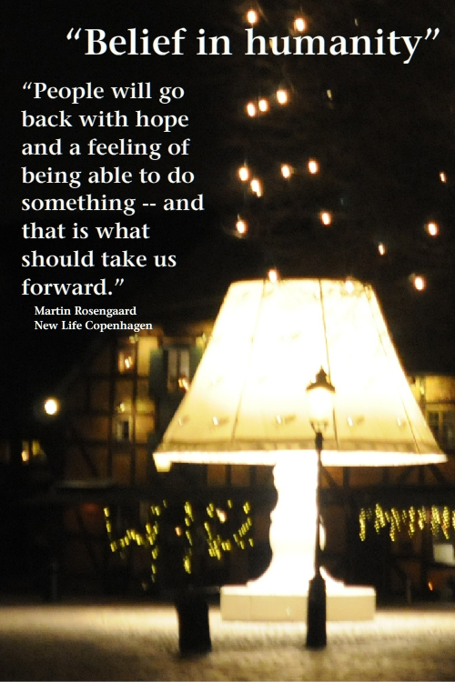 quote by Martin Rosengaard, photo of lamp in Malmo, Sweden square by Franke James