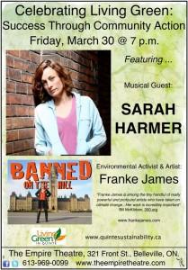 Quinte Conservation Sarah Harmer / Franke James poster