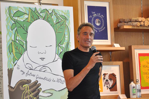 Ron Dembo at book reading for Bothered by My Green Conscience; photo by Central Image Agency