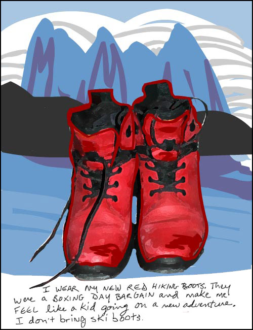 franke james drawing and photo of red hiking boots