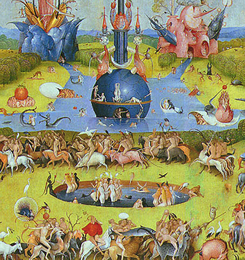 detail from The Garden of Earthly Delights by Hieronymus Bosch (c. 1450—1516) from the Wikimedia Commons.