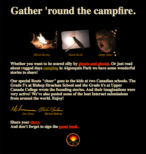 Around the Campfire screen designed by the James Gang, 1995/96