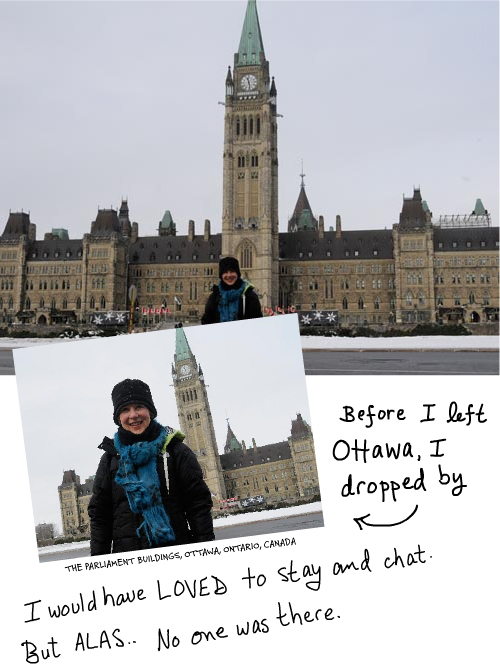 Franke James in front of parliament buildings, photo by Billiam James