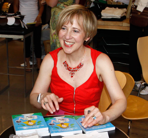 Franke James at book reading for Bothered by My Green Conscience; photo by Central Image Agency