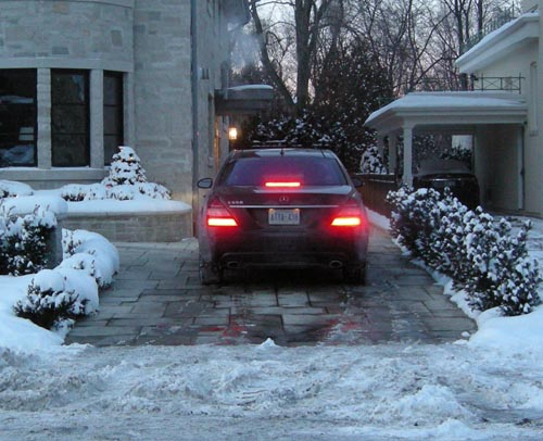 Close-up of heated driveway