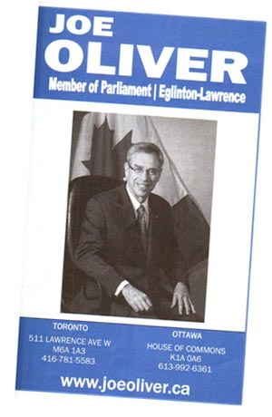 Joe Oliver, MP flyer
