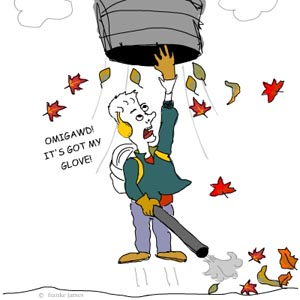 illustration by franke james of a leaf blower being sucked into the sky; card