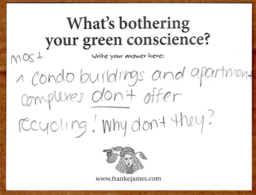 feedback card from Bothered by My Green Conscience book event