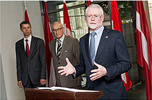 H.E. Scott Heatherington, Canadian Ambassador to Latvia, together with former Latvian Ambassadors to Canada from left - H.E. Margers Krams 2007-2011 and H.E. Dr. Georgs Andrejevs 1996-1998.  Photo by Edmunds Brencis ; photo copyright Government of Canada