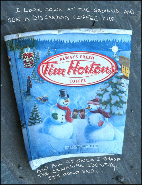 Tim Hortons cup side 1 Photo-illustration copyright Franke James 2007