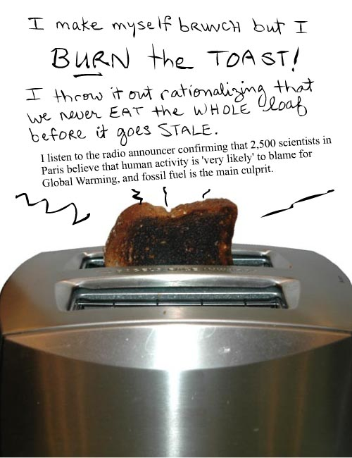 I make myself brunch and burn the toast...