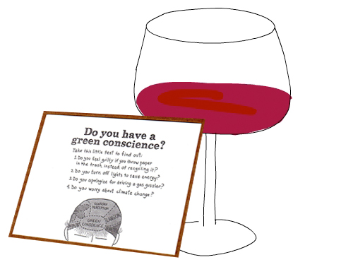 wine glass and card illustration by Franke James