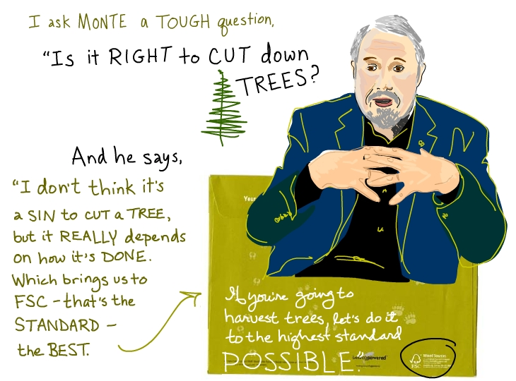 Monte Hummel says it is not a sin to cut a tree but we need to do it the FSC way, illustration by Franke James