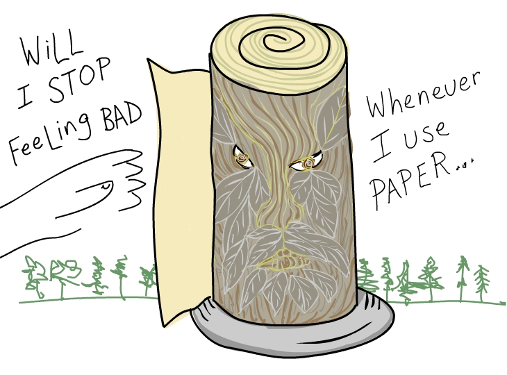 Will I stop feeling bad whenever I use paper if I buy FSC, illustration by Franke James