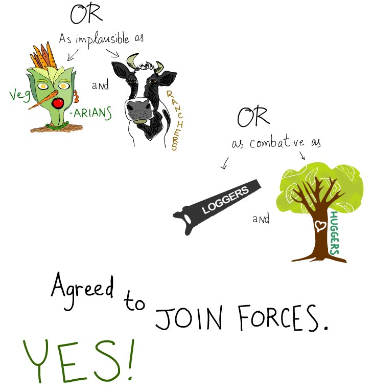 vegetarian and cattle ranchers, loggers and treehuggers, illustration by Franke James