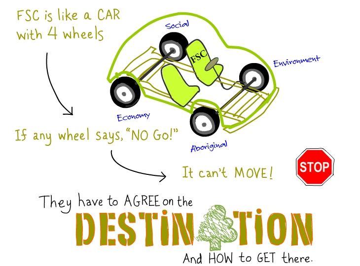 FSC is like a car, illustration by Franke James