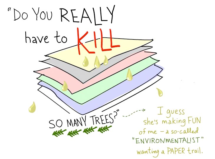 My bookkeeper asked Do you really have to kill so many trees? drawing by Franke James