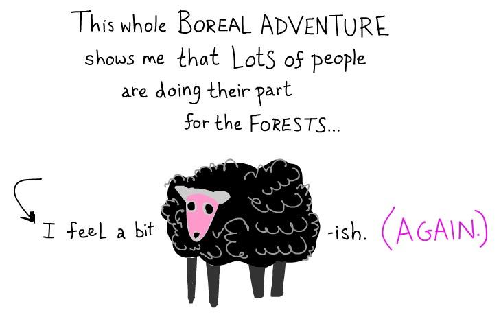 I feel sheepish again, illustration by Franke James