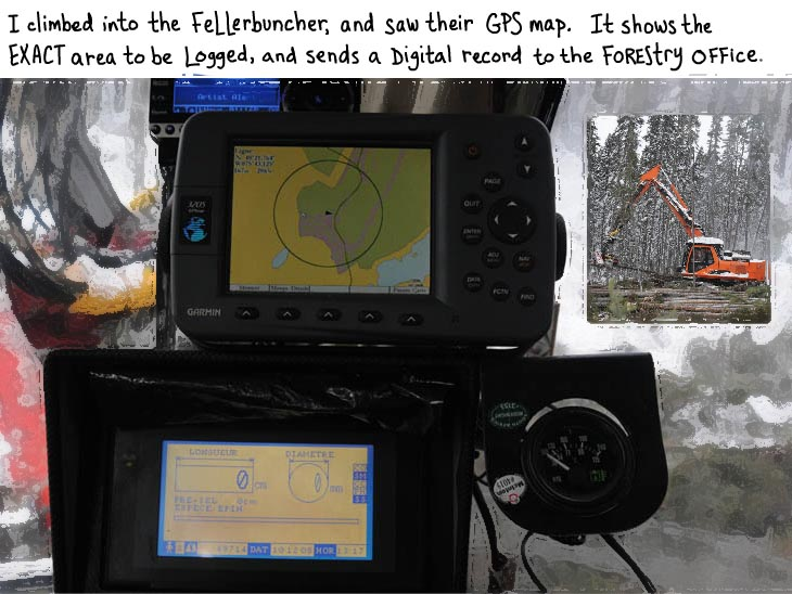 GPS in fellerbuncher, photo illustration by Franke James