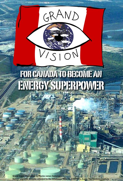 Grand Vision illustration by Franke James features: Suncor upgrader complex adjacent to the Athabasca River. © 2002 Chris Evans, The Pembina Institute