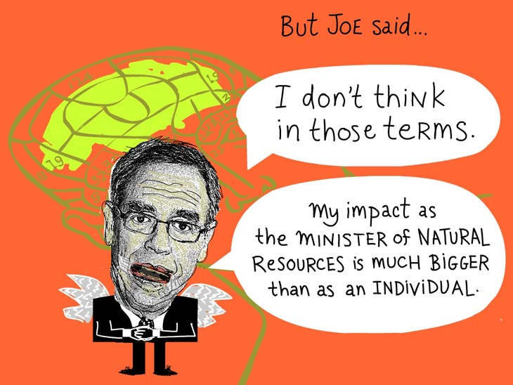 Joe said 'I don't think in those terms. My impact as the Minister of Natural Resources is much bigger than as an individual, Photo-illustration of Joe Oliver by Franke James