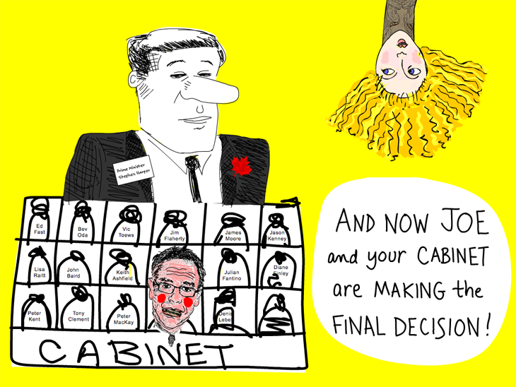 And now Joe and your cabinet are making the final decision; Harper with cabinet illustration by Franke James