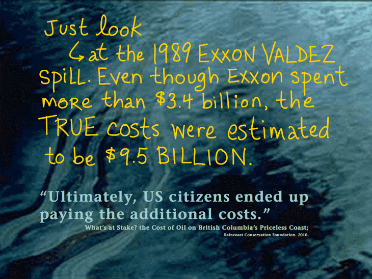 One big spill could wipe out B.C.'s entire tax revenue of $1.2 billion – which is forecast over 30 years; writing by Franke James; Dogwood Initiative 'No Tankers Loonie Decal'; Photo 'Ultimately, US citizens ended up paying the additional costs.' source: What's at Stake? the Cost of Oil on British Columbia's Priceless Coast; Raincoast Conservation Foundation. 2010.