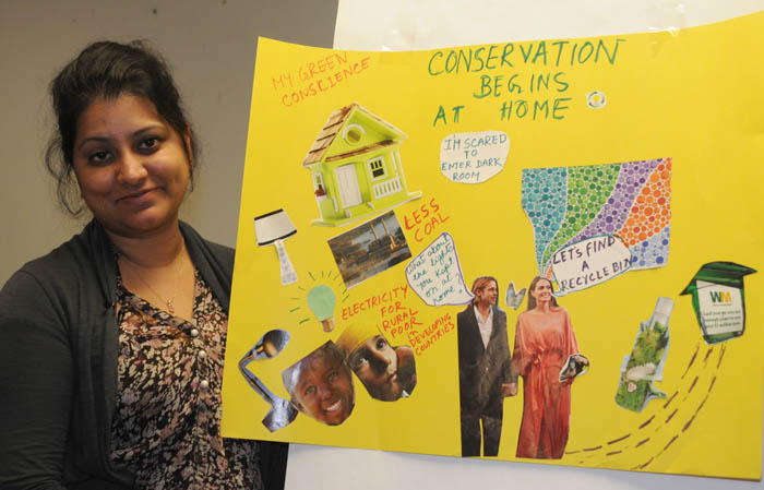 Iffat's green conscience artwork about conservation starting at home, photo by Franke James
