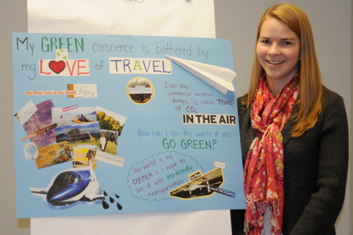Fiona's 3D green conscience artwork about air travel, photo by Franke James