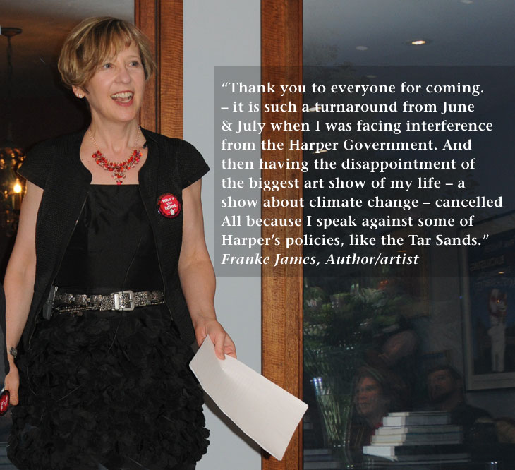Franke James giving a speech her Blacklisting Party; photo by James Coburn of CIA