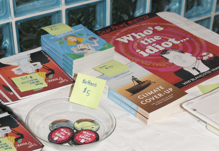 Books, posters, buttons for sale at Franke James  Blacklisting event