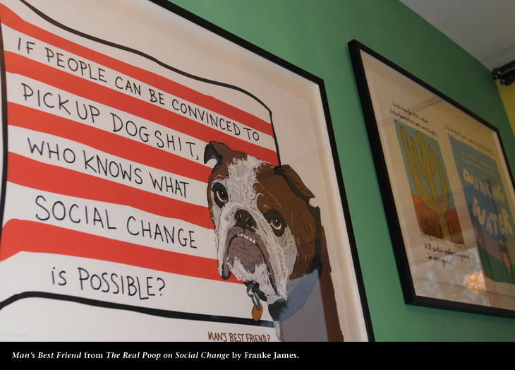 Franke James' Social Change giclee, photo by James Coburn, Central Image Agency