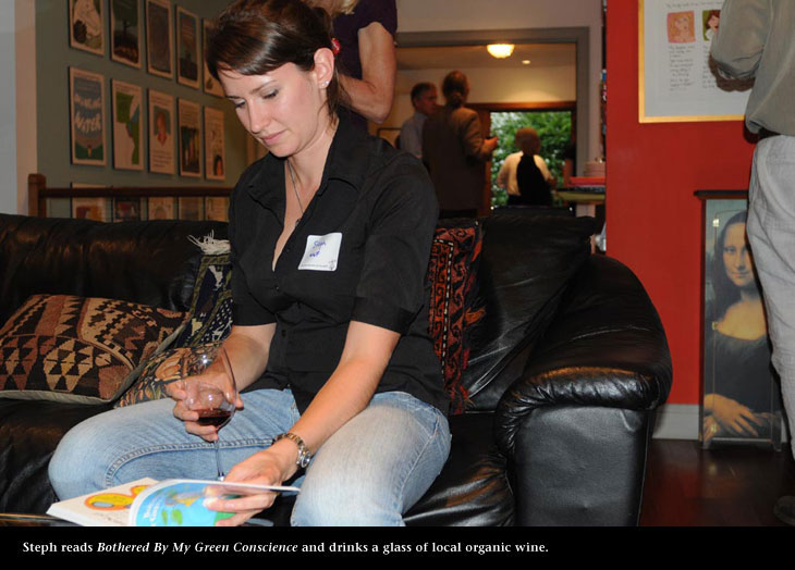 Steph from WWF Canada at blacklisting party reads Franke James book, photo by James Coburn Central Image Agency