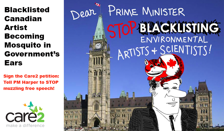 Photo of Parliament Buildings in Ottawa, with cartoon of PM Harper and Fat Cat Canada on his head