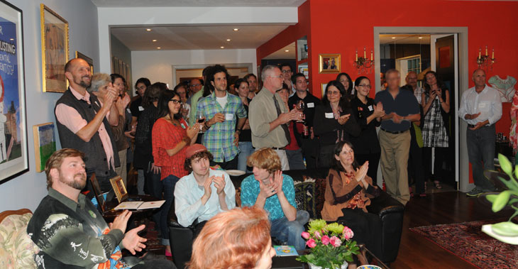 crowd listening to speeches at Franke James Blacklisting Party; photo by James Coburn of CIA