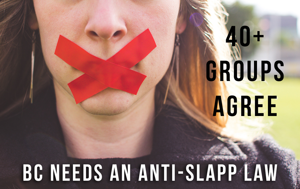 Anti-SLAPP graphic created by WCEL. Woman with Red Tape covering her mouth.