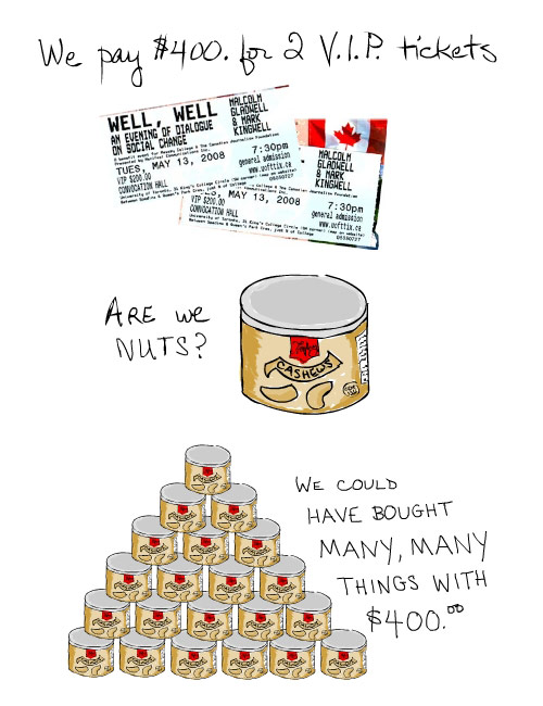 illustration of tickets and nuts by franke james 2008