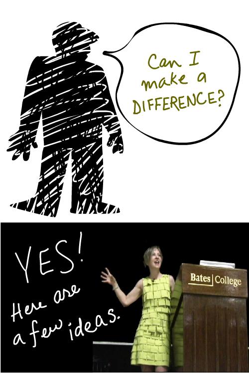 Artist and author Franke James speaks at Bates College Sept 5 2009 Make a Difference illustration by Franke James;
