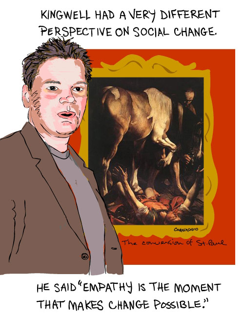 illustration of mark kingwell by franke james 2008 with insert low res image of Caravaggio painting