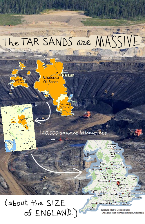 tar sands photo by © Jiri Rezac / Greenpeace. Map copyright Google. Wikipedia map by Norman Einstein. Composite illustration by Franke James