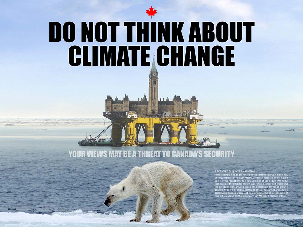 DoNotThink poster by Franke James features polar bear photo by Kerstin Langenberger