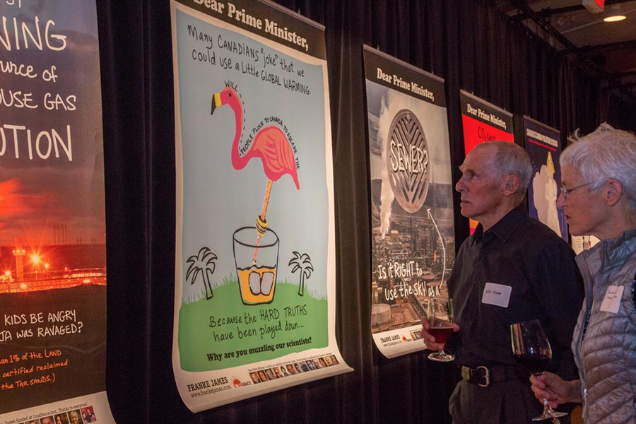 Franke James's Dear Prime Minister protest posters that were exhibited in Ottawa in November 2011 were displayed at My Dangerous Art event Sep 24, 2015, Photo by Zack Embree