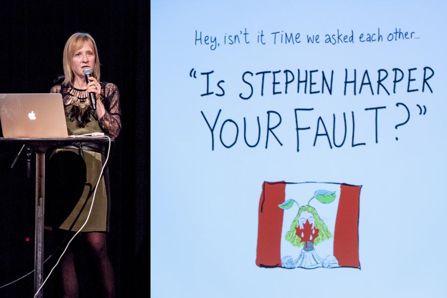 Isn't it time we asked each other, Is Stephen Harper your fault?' Franke James speaking, Photo by Zack Embree