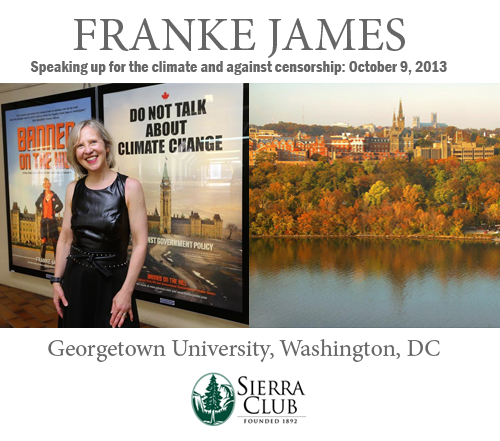 Franke James photo by Nick Pearce; Georgetown University photo by Patrick Neil, Wikipedia