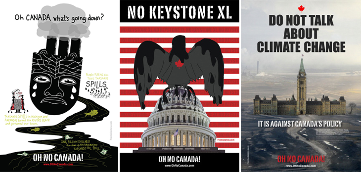 Three of Franke James' Oh No Canada poster displayed in Washington DC in Fall 2013