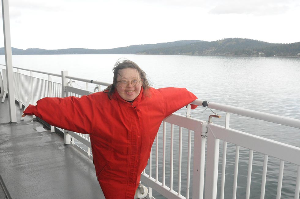 Teresa on the Ferry March 2014