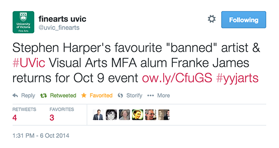 Stephen Harpers favourite banned artist and UVic Visual Arts MFA alum Franke James returns for Oct 9 event