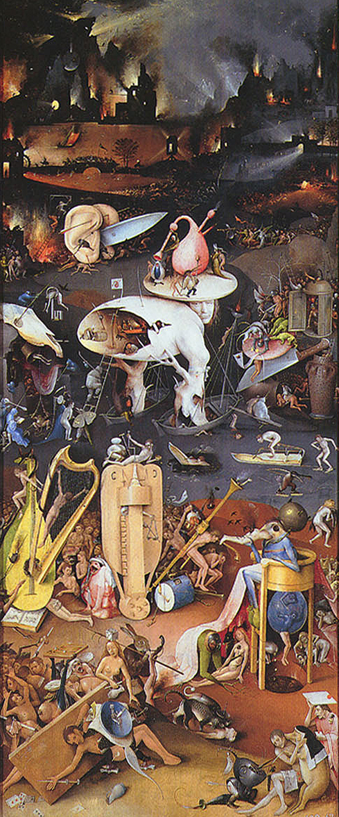 Hell panel detail from The Garden of Earthly Delights by Hieronymus Bosch (c. 1450–1516) from the Wikimedia Commons.